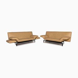 Cream Leather Sofa Set, Set of 2