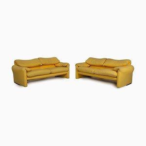 Maralunga Sofa Set in Gelb von Cassina, 2er Set