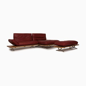 Marylin Red Leather Sofa Set from Koinor, Set of 2