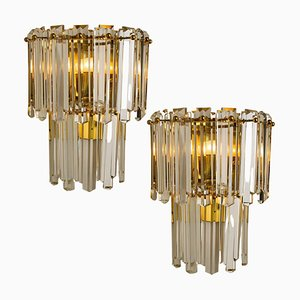 Large Faceted Glass and Gilt Brass Sconces from J. T. Kalmar, Vienna, 1960s, Set of 2