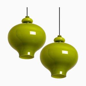 Grüne Glas Hängelampen von Hans-Agne Jakobsson für Staff, 1960er, 2er Set