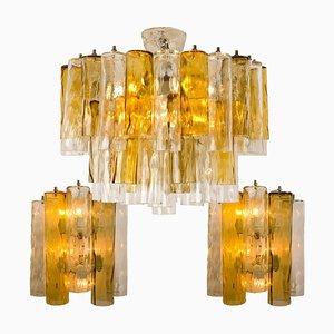Große Deckenlampe & 2 Wandlampen von Barovier & Toso, 3er Set
