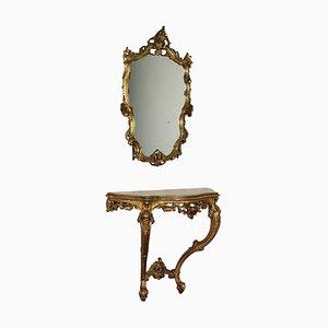 Consolle Revival con specchio in marmo, Italia, XX secolo