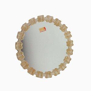 Mid Century NOS Bernsteinfarbener Bakelit Spiegel aus Frostglas von HONSEL, 1960er
