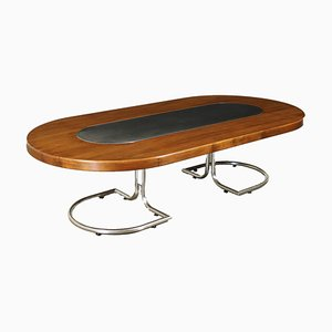 Großer Italienischer Tisch aus Verchromtem Aluminium & Nussholz Furnier, 1960er