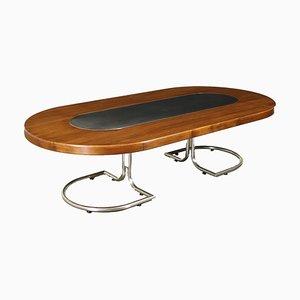 Tavolo grande in alluminio cromato e impiallacciato in legno di noce, anni '60
