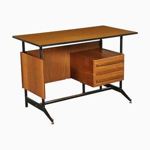 Mahogany Veneer Desk with Formica, Italy, 1960s