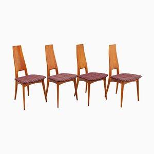 Esszimmerstühle mit hoher Rückenlehne von Martin Dettinger, 1950er, 4er Set
