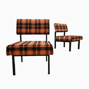 Vintage Dutch Coloured Check Easy Chairs, Set of 2