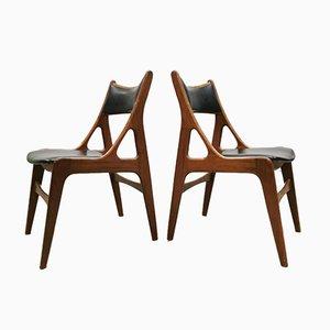 Dänische Mid-Century Organische Esszimmerstühle, 4er Set