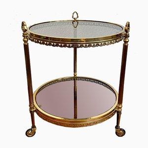 Round Brass Bar Cart on Wheels.
