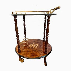 Round Italian Mid-Century Golden Serving Trolley with Inlay Pattern