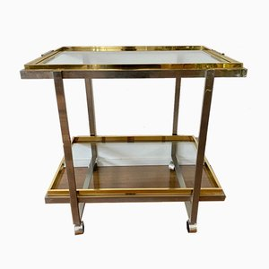 Italian Bar Cart with a Silver/Gold Frame on Wheels