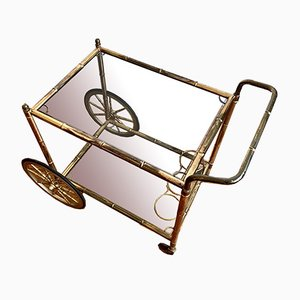 Goldener Hollywood Regency Barwagen in Bambus Optik