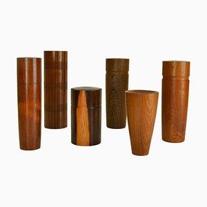 Hand-Turned Hardwood Boxes, Set of 6