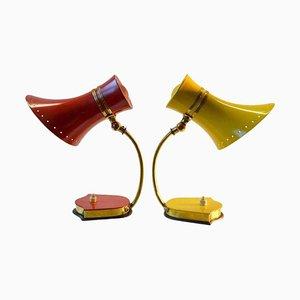 Italienische Tischlampen in Rot, Gelb & Messing von Stilnovo, 1960er, 2er Set