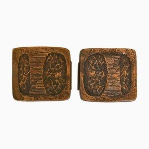 Brutalist Dark Bronze Push and Pull Door Handles for Double Doors, Set of 2