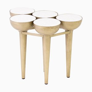 Carrara Marble & Gold Torch Table