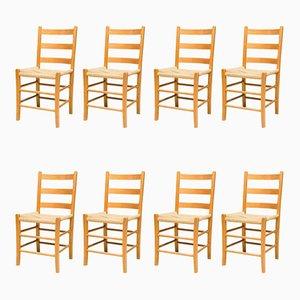 Scandinavian Oregon Pine Chairs, Set of 8
