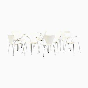 Model 3107 / Seven Series Armchairs by Arne Jacobsen for Fritz Hansen, Denmark, 1973, Set of 8
