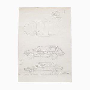 Zeichnung von Gio Ponti für Carrozizia Touring Milan, 1952