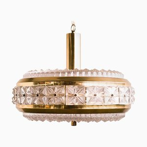 Pressed Glass Pendant Lamp from Orrefors