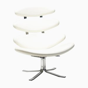 White Leather EJ5 Corona Chair by Poul Volther