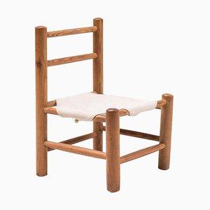Kinderstuhl aus Kiefernholz und Leinen