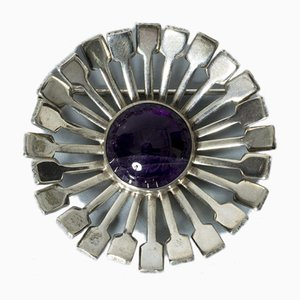 Silver and Amethyst Brooch from Victor Jansson