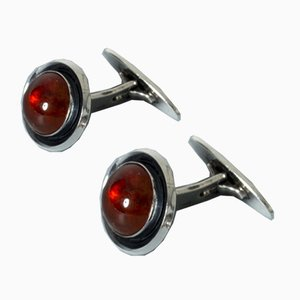 Silver and Amber Cufflinks from Niels Erik From, Set of 2