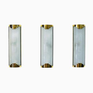 Frosted Glass Wall Lamps, 1930s, Set of 3