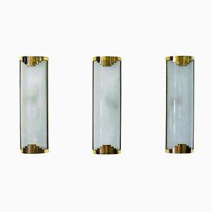 Milchglas Wandlampen, 1930er, 3er Set