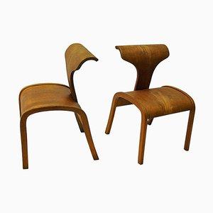Scandinavian Vintage Children's Wooden Chairs 1950s, Set of 2