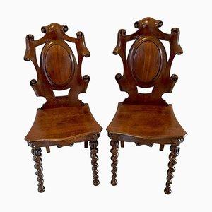 Antike viktorianische Eichenholz Stühle, 2er Set