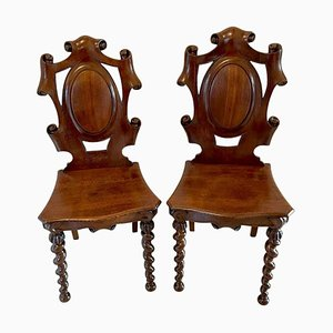 Antique Victorian Oak Hall Chairs, Set of 2