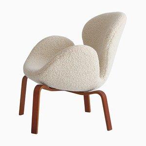 Swan Sessel aus Teak & weißem Bouclé von Arne Jacobsen für Fritz Hansen, 1960er