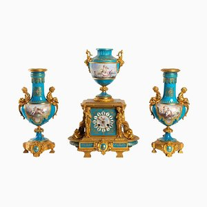 Porcelain Mantelpiece with Dolphins, Set of 3