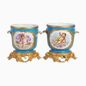 Porcelain and Gilt Bronze Planters, Set of 2