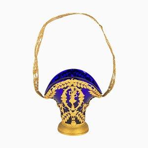 Blauer Korb aus Kristallglas und vergoldeter Bronze