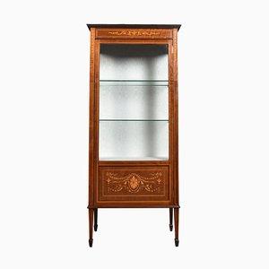 Inlaid Mahogany Single Door Display Cabinet