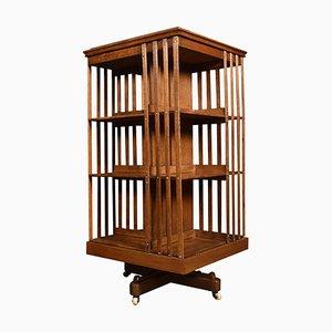 Oak Three-Tier Revolving Bookcase