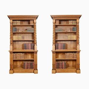 19th Century Oak Open Bookcases, Set of 2