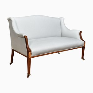 Sheraton Revival Mahagoni Sofa mit Intarsie