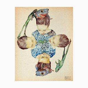 Andrea Pescio, Frog Quartet, acquerello, 2018