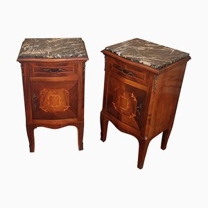 Antique Italian Walnut & Portoro Marble Nightstands with Marquetry, Set of 2