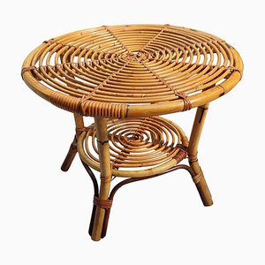 Round Bohemian Italian Bamboo & Rattan Coffee or Accent Table, 1960s