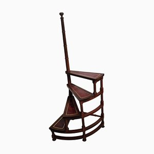 Mid-Century Italian Carved Walnut Wood and Leather Spiral 4-Step Library Ladder