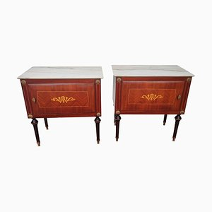 Mid-Century Italian Art Deco Nightstands in Walnut with White Marble Tops, Set of 2