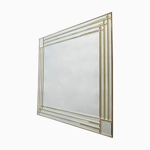 Großer rechteckiger abgeschrägter Spiegel mit Messingrahmen, Italien, 1970er