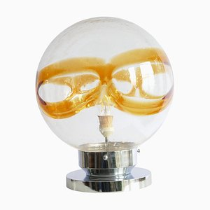 Large Murano Glass Sphere Table Lamp with Chrome Base, Italy, 1970s